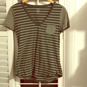 Olive green and white striped tee